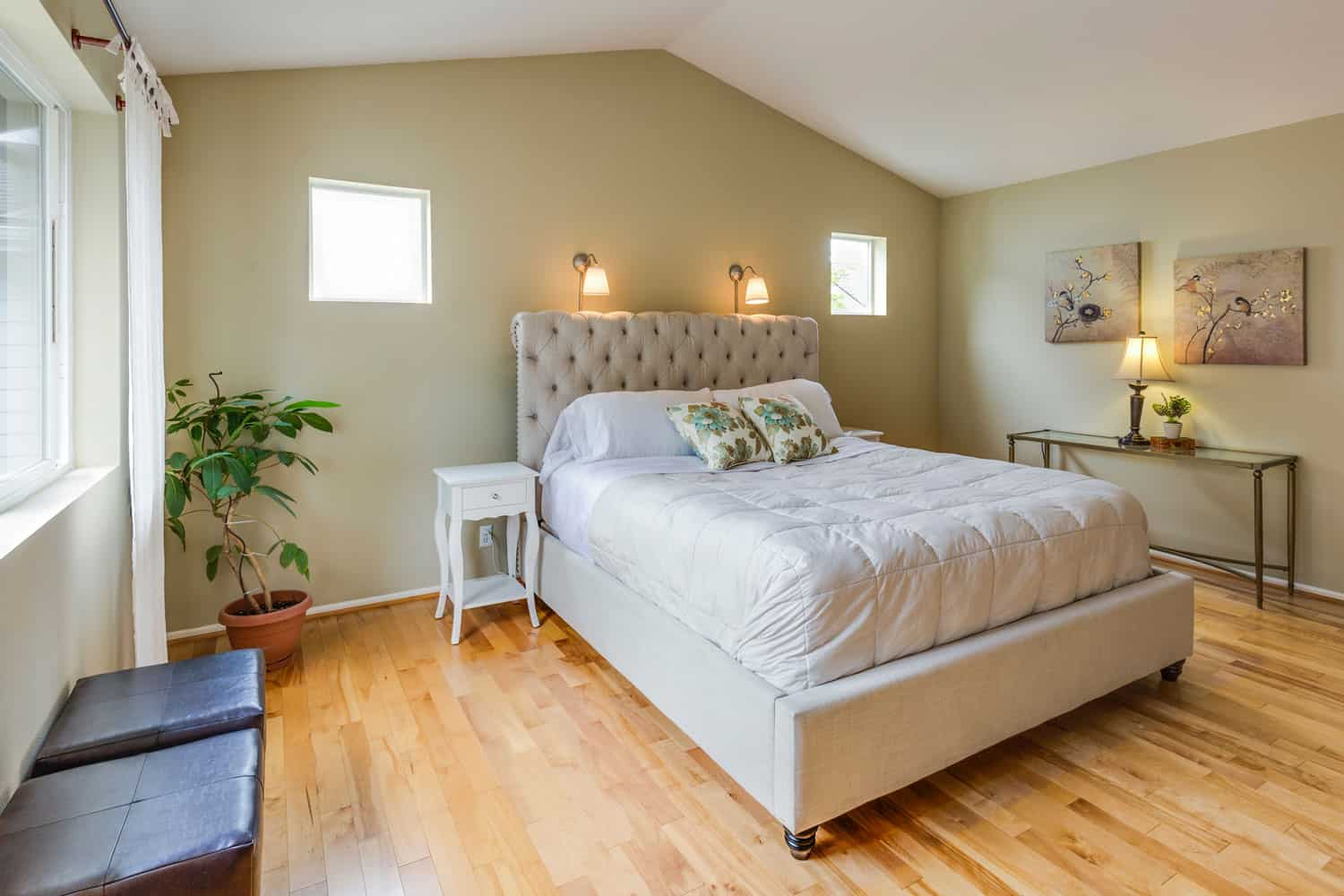 photo of a comfortable bed in a bedroom