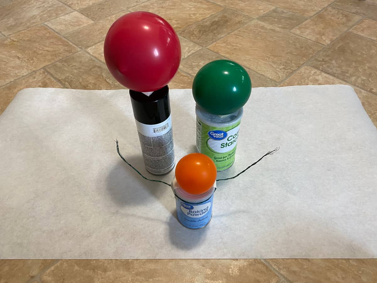 Balloons and cans for Halloween ghost decorations