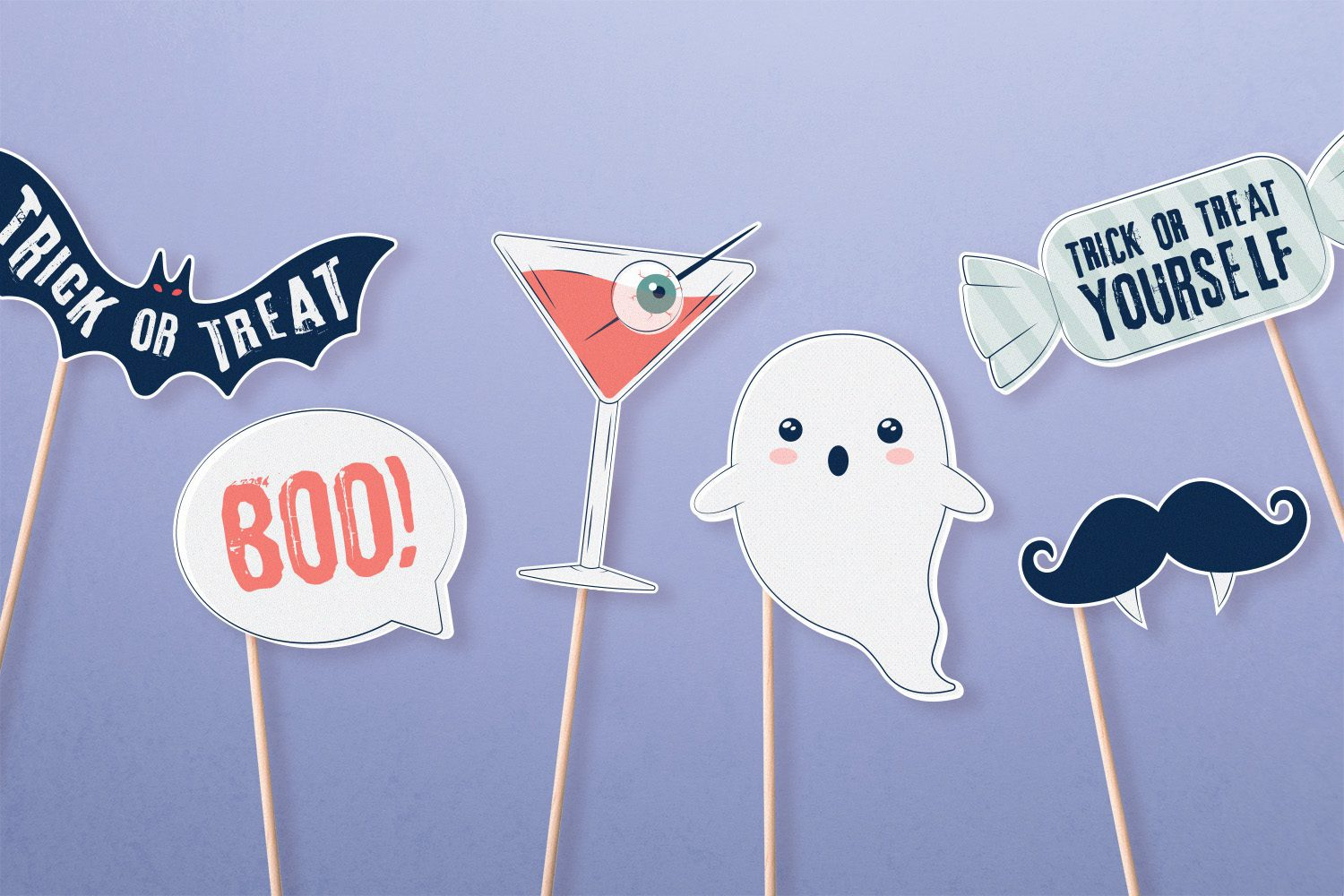 Printable Halloween photo booth props with purple background