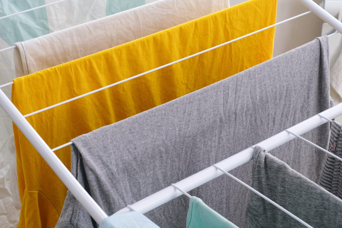 hanging clothes to dry without a dryer
