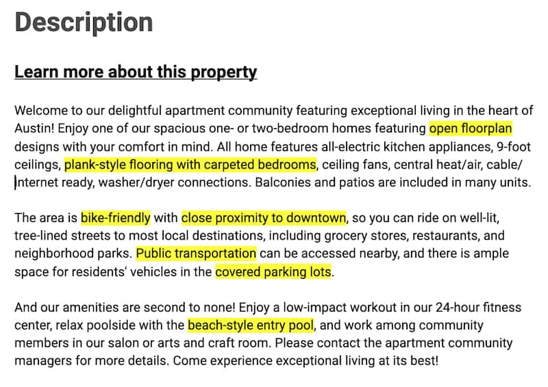 Screenshot of a mockup property description screen from a Rent.com apartment search, with highlights