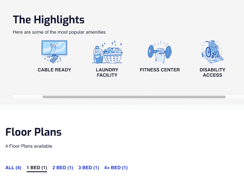 Screenshot of a highlights and floors plans screen from a Rent.com apartment search