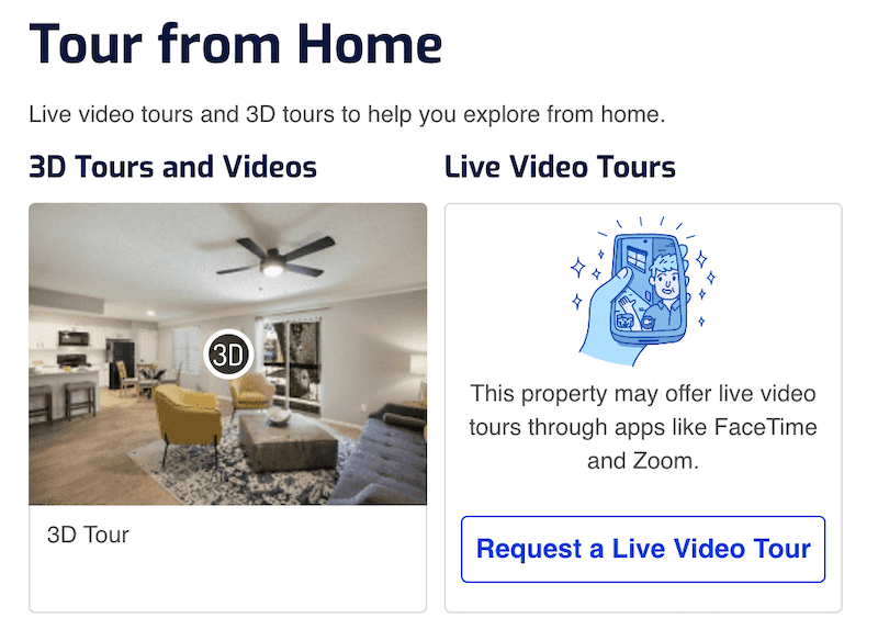 Screenshot of a virtual tours and video tours screen from a Rent.com apartment search