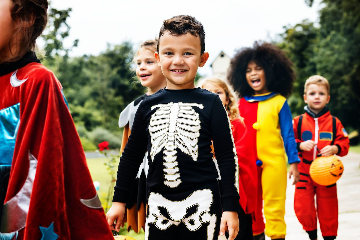 trick-or-treater costume parade